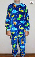 Пижама детская махровая тепла для мальчика динозавры р. 30-38