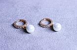 Преміум сережки фірми Xuping з перлами (color 54), фото 2