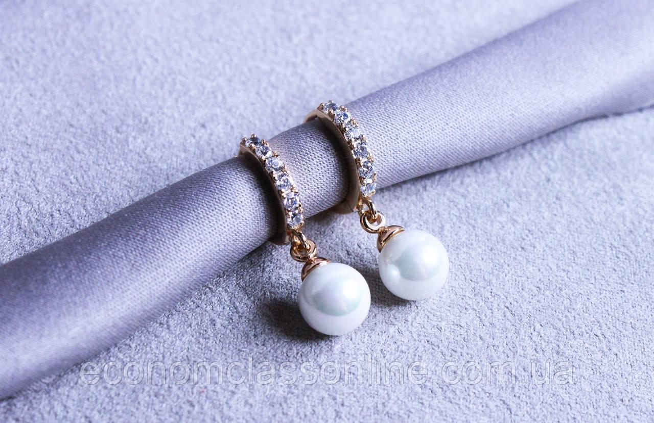 Преміум сережки фірми Xuping з перлами (color 54)