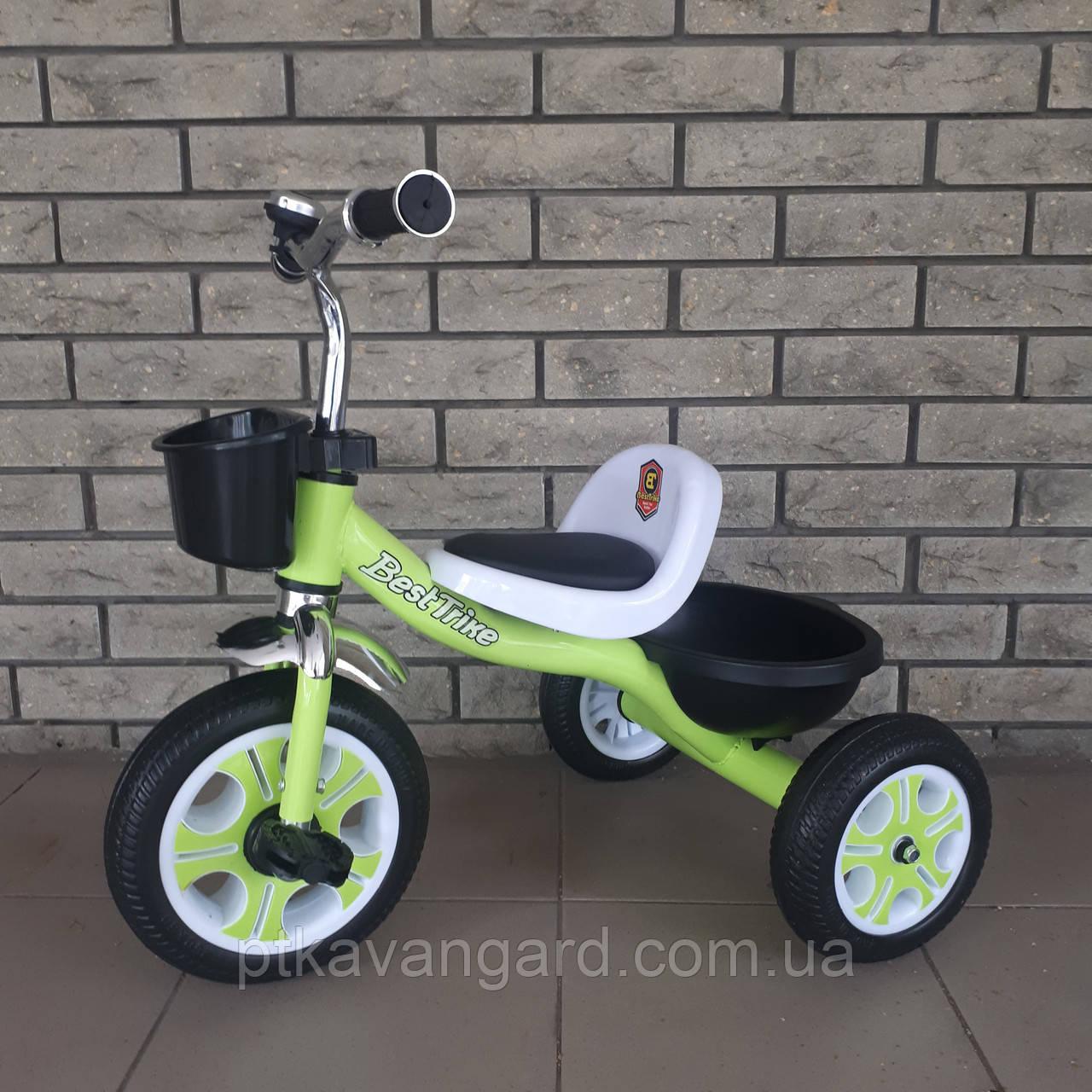 Велосипед триколісний Best Trike, Салатовий, піно колесо, метал рама, дзвіночок, 2 корзини, LM-3109