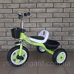 Велосипед трехколесный Best Trike, Салатовый, пено колесо, металл рама, звоночек, 2 корзины, LM-3109