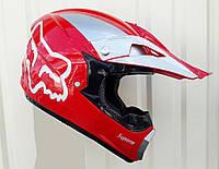 Кросовий мото шолом Ендуро Fox червоний глянець розмір S, фото 1