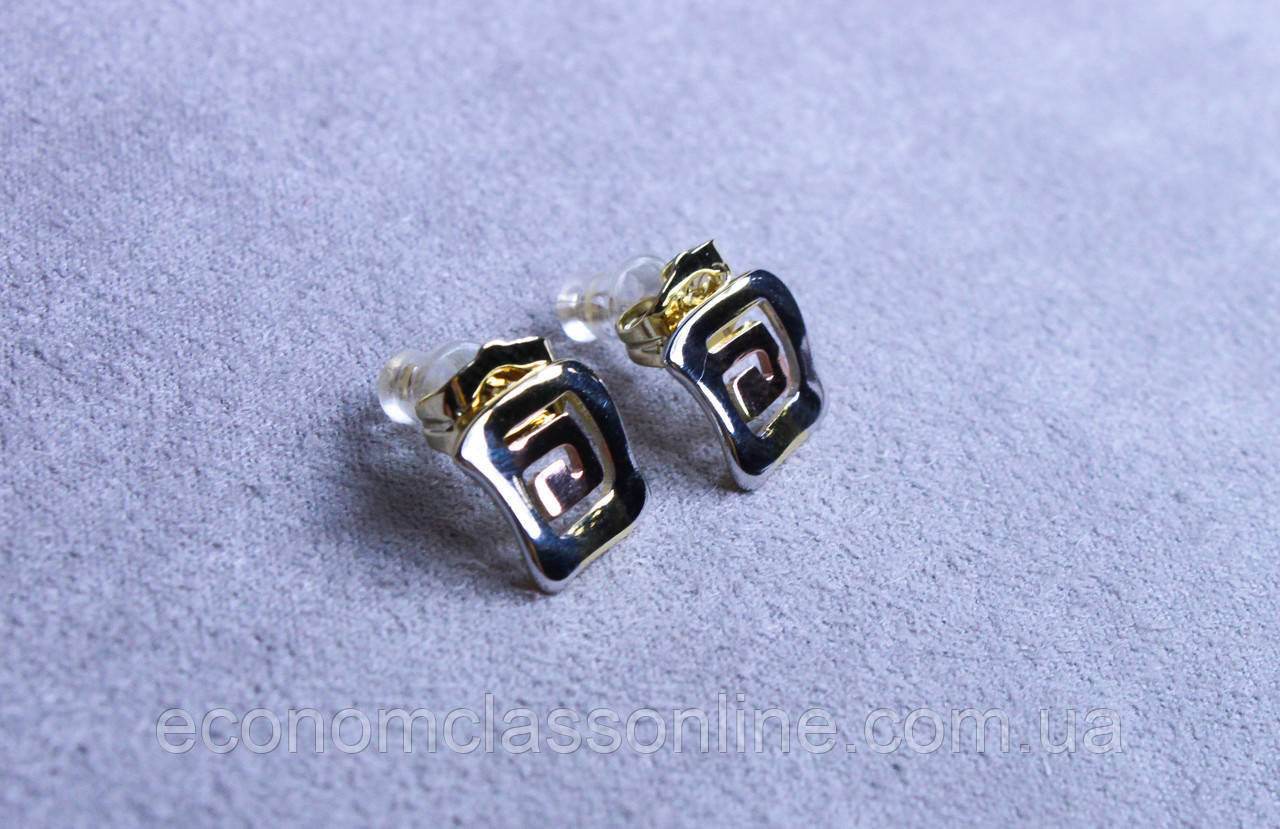 Стильні сережки фірми Xuping в мінімалістичному стилі (Rhodium color 32)