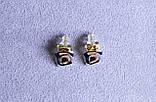 Стильні сережки фірми Xuping в мінімалістичному стилі (Rhodium color 32), фото 2
