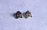 Стильні сережки фірми Xuping в мінімалістичному стилі (Rhodium color 32), фото 3