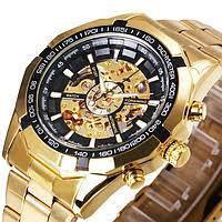 Мужские механические часы Winner Timi Skeleton Automatic Sport в золотистом цвете