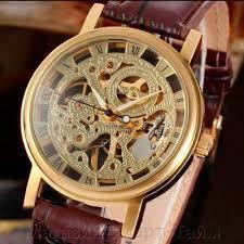 Элитные мужские часы WINNER GOLD SKELETON