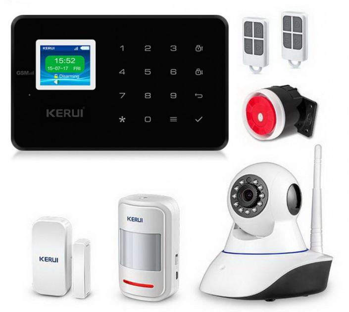 Комплект сигнализации Kerui alarm G18 с Wi-Fi IP камерой черная! Гарантия 24 месяца!