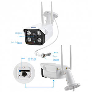 Wifi камера видеонаблюдения для улицы беспроводная Kerui WF62HA IP, 2 Мегапикселя, Full HD 1080P, SD до 128 Гб
