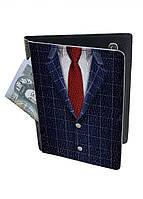Обложка-холдер на паспорт, тревел-кейс из натуральной кожи с отделениями для карточек ReD Галстук