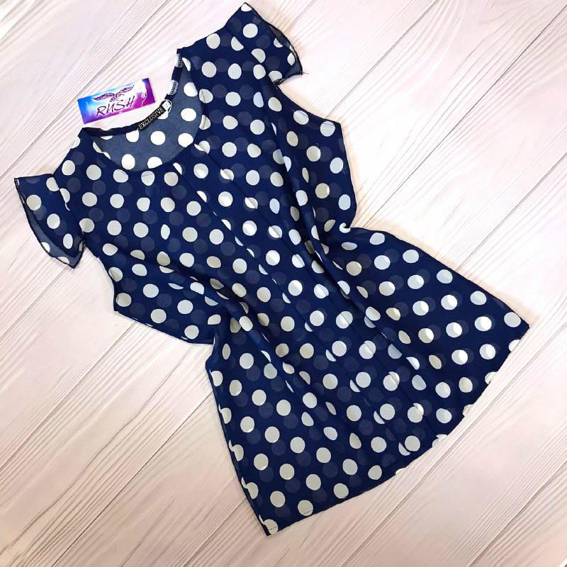 Шифоновая блузка в горошек синяя
