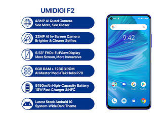 Смартфон UMIDIGI F2 синего цвета 6/128Gb NFC. Телефон UMIDIGI F2