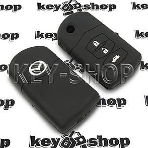 Чехол (силиконовый) для выкидного ключа Mazda (Мазда) (черный) 3 кнопки, фото 2