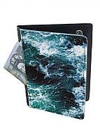 Обложка-холдер на паспорт, тревел-кейс из натуральной кожи с отделениями для карточек ReD Морские волны