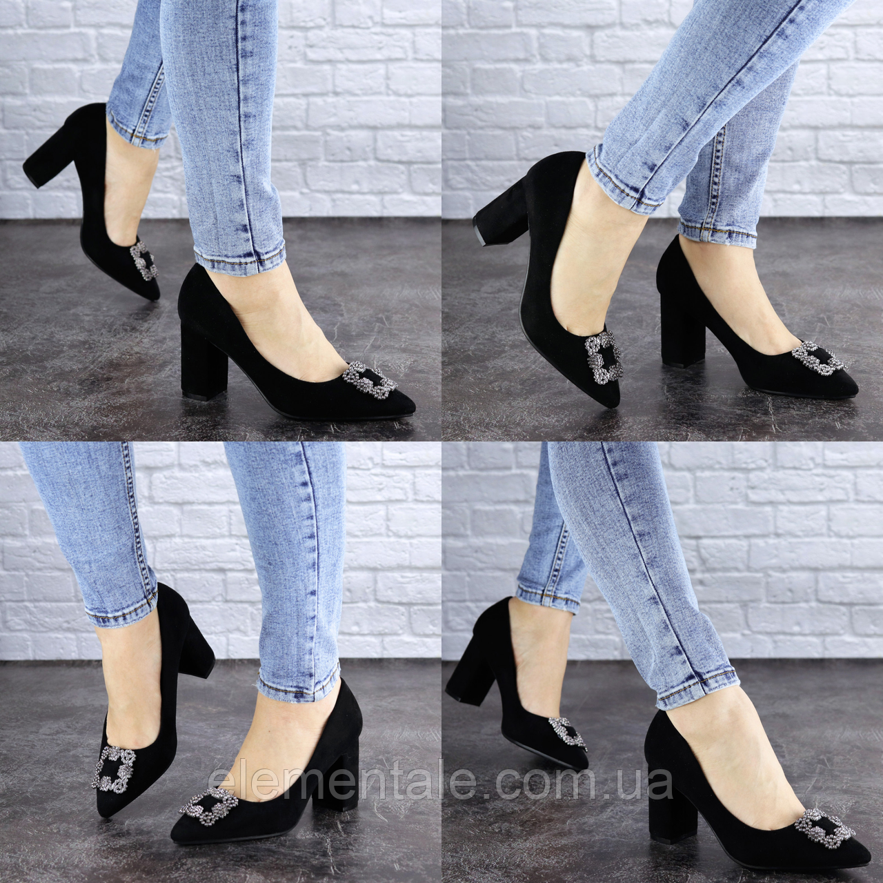Женские туфли на каблуке черные Angie 1921 Размер 37 - 24 см
