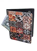 Обложка-холдер на паспорт, тревел-кейс из натуральной кожи с отделениями для карточек ReD Восточная мозаика