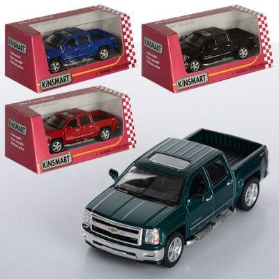 Машинка KT 5381 W Chevrolet Silverado металл, инер-я,12,5см,1:46,откр.двери,рез.колеса,4цвета,в кор-ке 16-8-7,5см
