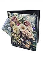 Обложка-холдер на паспорт, тревел-кейс из натуральной кожи с отделениями для карточек ReD Нежность