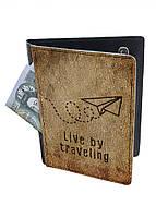 Обложка-холдер на паспорт, тревел-кейс из натуральной кожи с отделениями для карточек ReD Полет