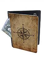 Обложка-холдер на паспорт, тревел-кейс из натуральной кожи с отделениями для карточек ReD Роза ветров