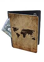 Обложка-холдер на паспорт, тревел-кейс из натуральной кожи с отделениями для карточек ReD Карта мира