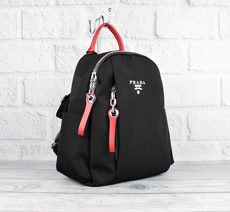 Рюкзак городской текстильный черный с красным Prada 8024