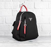Рюкзак городской текстильный черный с красным Prada 8024, фото 1