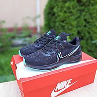 Кроссовки женские Nike ZOOM из текстиля беговые дышащие в стиле найк черные с белой подошвой