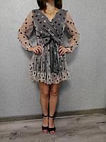 Платье женское черное с бежевой сеткой в звезды Exclusive Размер S-M