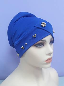 Модна чалма з золотими намистинами яскраво синій