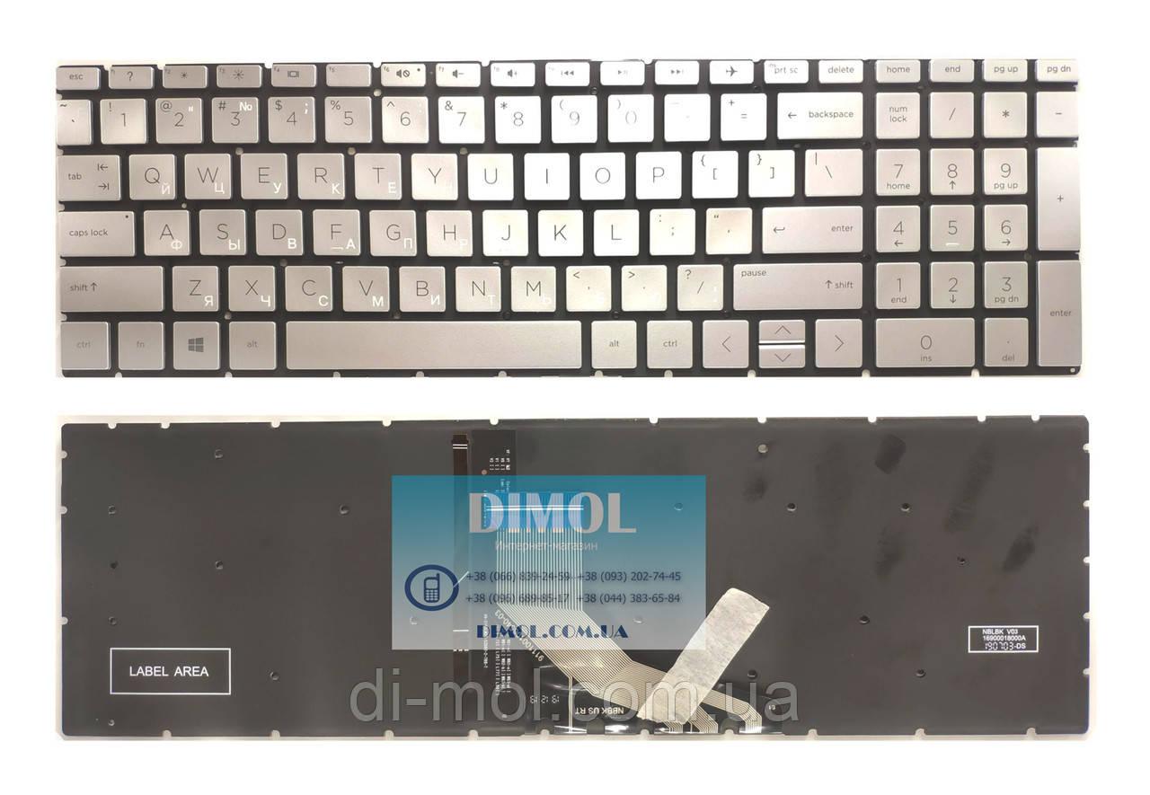 Оригинальная клавиатура для ноутбука HP Pavilion Gaming 15-CX series, rus, silver, подсветка