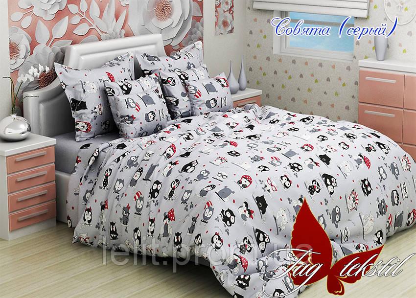 Детский полуторный комплект постельного белья Совята серый
