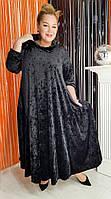 Бархатное велюровое плетье бочка, оверсайз свободного кроя , цвет на выбор, размер 42-74+ батал, фото 1