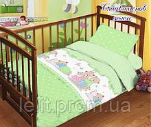 """Детский комплект постельного белья в кроватку с простыней на резинке """"Сладских снов зеленый"""""""