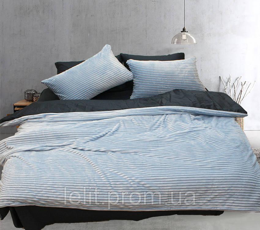 Двуспальный комплект постельного белья зима-лето Light blue