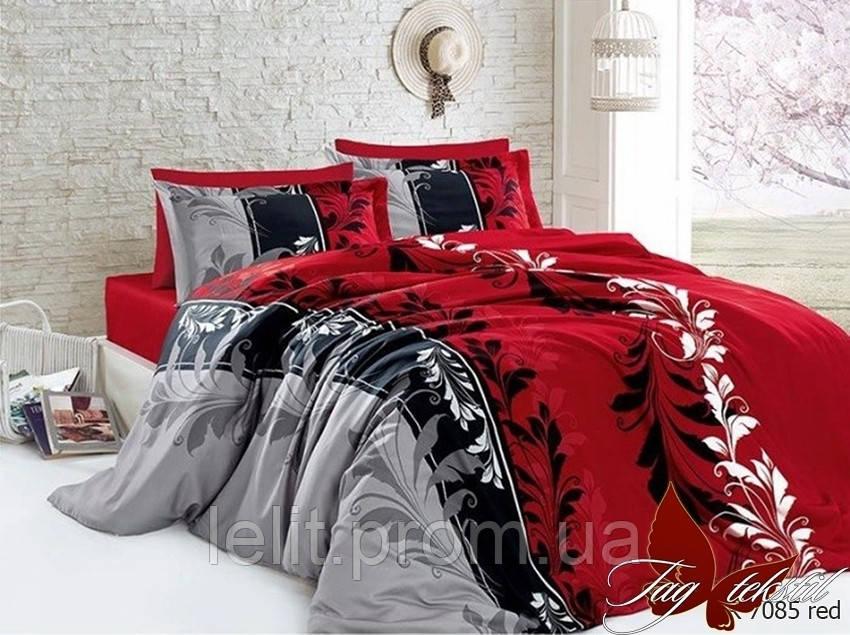 Полуторный комплект постельного белья R7085 red