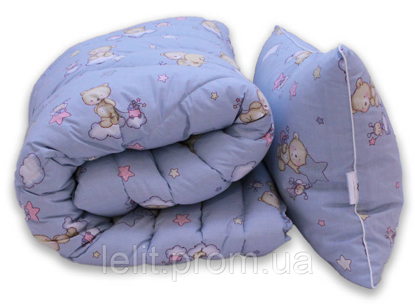 "Одеяло лебяжий пух ""Мишки син."" 1.5-сп. + 1 подушка 50х70"