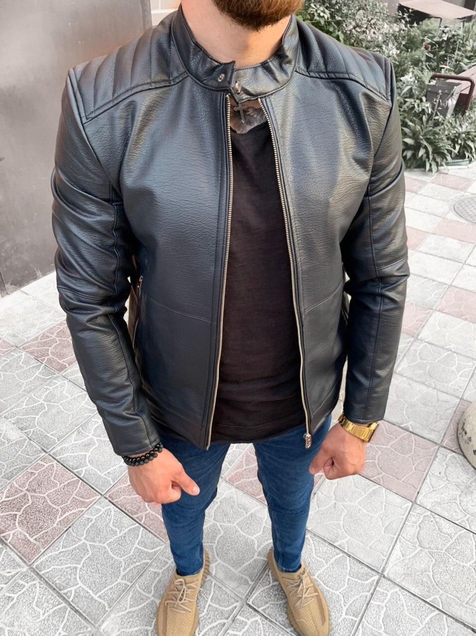 Мужская кожанка черная 78-127