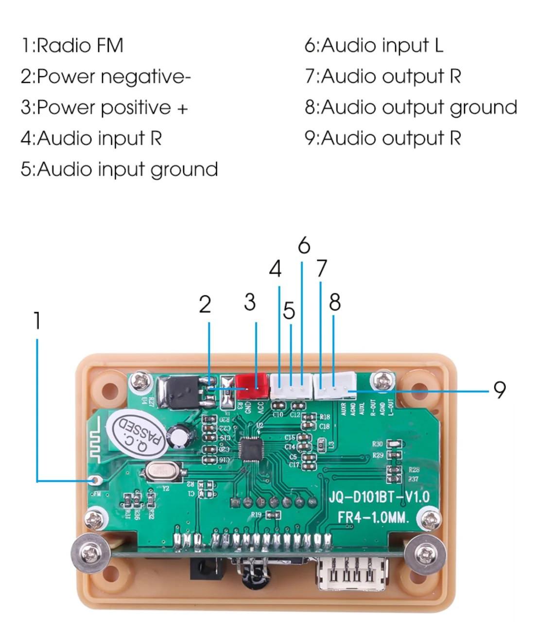 Автомобільний аудіоплеєр 5-12В. USB, MP3, FM, AUX, TF, Bluetooth 5.0