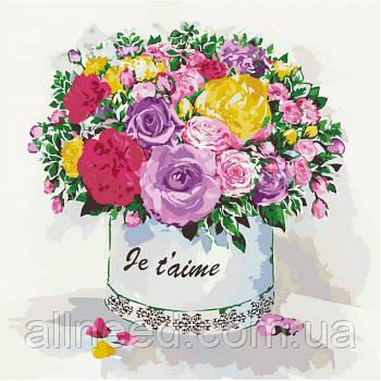 """Картина по номерам Цветы """"Подарок любимой"""" 40*40см"""