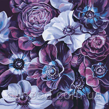 """Картина по номерам Букет """"Фиолетовое разнообразие""""  40*40см"""