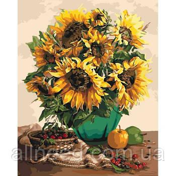 """Картина по номерам Цветы """"Чудесный букет подсолнухов""""  40*50см"""