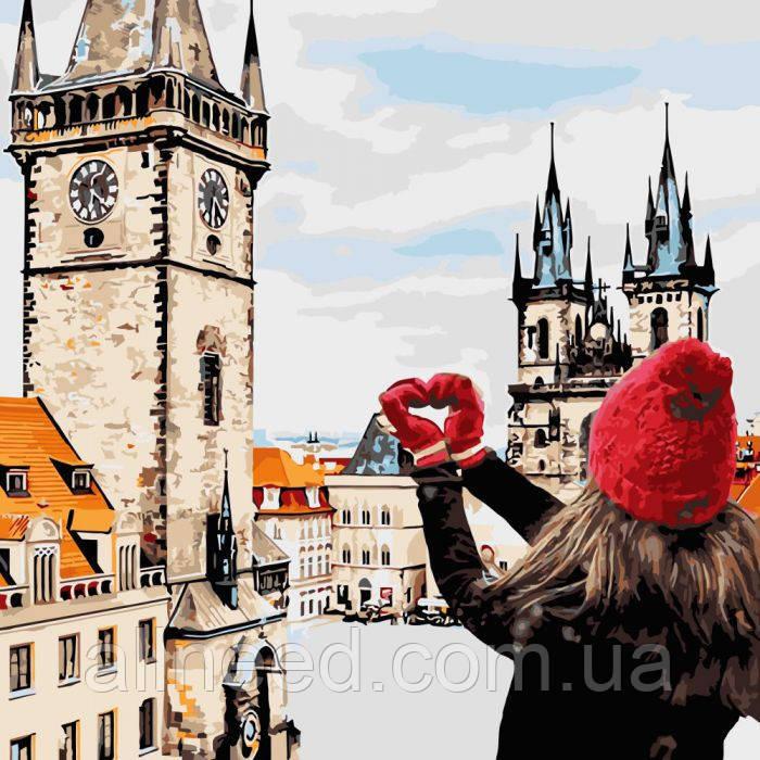 """Картина по номерам пейзаж, город """"С любовью в сердце """" 40*40см"""