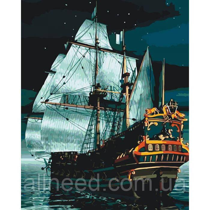 """Картина по номерам Морской пейзаж """"Флагман ночью"""" 40*50см"""