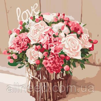 """Картина по номерам Букеты, картина по номерамы """"Розы любви"""" 40*40см"""