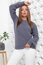Свитер женский однотонный в стиле oversize 42-46 из качественной мягкой пряжи светлый джинс, фото 3