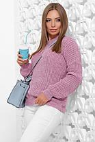 Свитер женский однотонный пудровый в стиле oversize 42-46 из качественной мягкой пряжи, фото 3