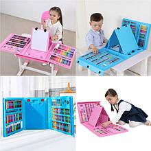 Детский художественный набор для творчества с мольбертом 208 предметов в чемоданчике