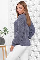 Свитер женский однотонный в стиле oversize 42-46 из качественной мягкой пряжи цвет джинс(темно-синий), фото 3