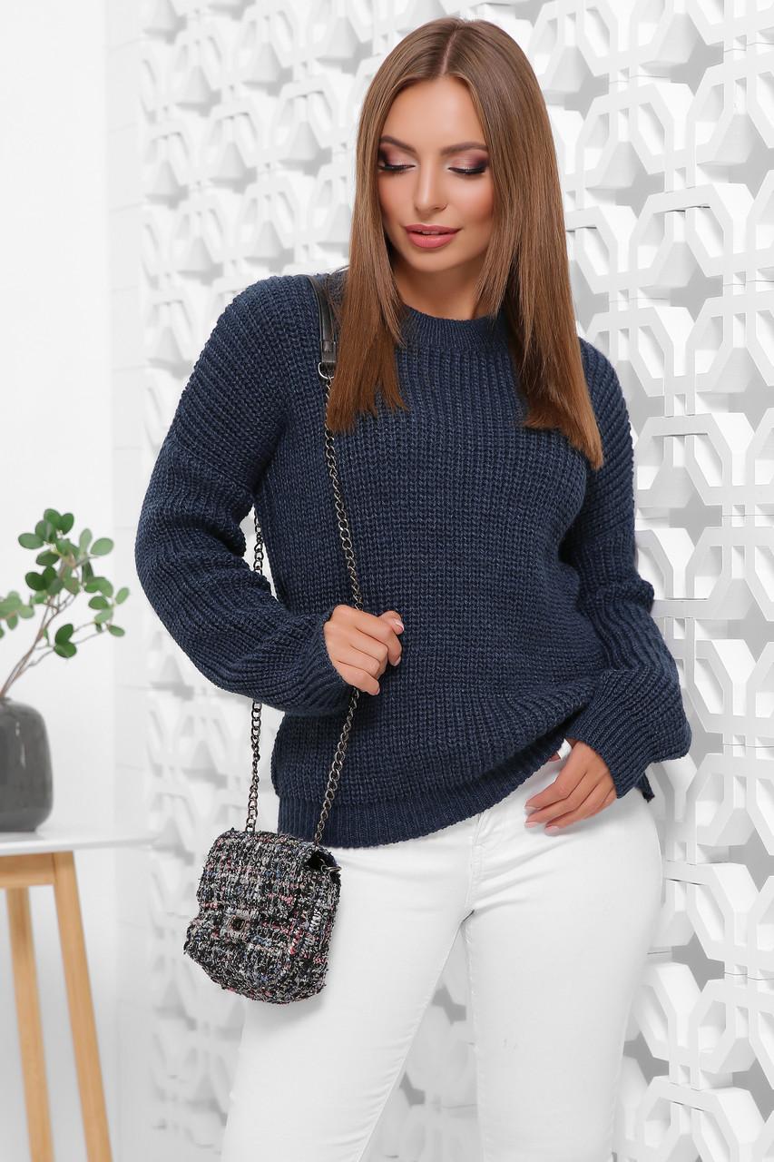 Свитер женский однотонный в стиле oversize 42-46 из качественной мягкой пряжи цвет джинс(темно-синий)